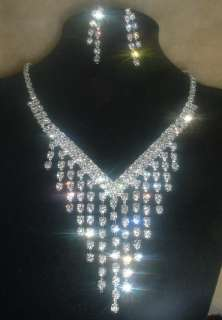 Choker Rhinestone Crystal Clear Necklace&Earrings set