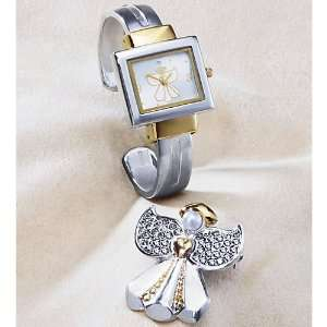 The Swiss Colony Watch & Pin Set, Two Tone Angel: Arts