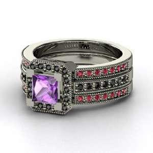 Va Voom Ring, Princess Amethyst 14K White Gold Ring with Black Diamond