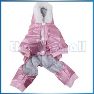 Pet Dog Hoodie Hooded Waterproof Coat Apparel Jumpsuit w/ Waist Belt