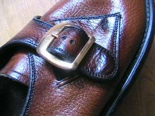 1950s MEN CASUAL LEATHER SHOES   SIDE BUCKLES   SQUARE TOE   NEW/OLD