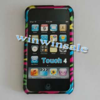 For Apple Ipod Touch 4 G 4G 4th Colorful Zebra Hard Case Cover Skin 8G