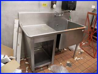 Commercial Kitchen Stainless Steel Sink with Prep Area and Storage