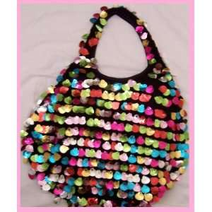 STAR MULTICOLOR SEA SHELL SHAPED SEQUIN HOBO HANDBAG PURSE BAG MULTI