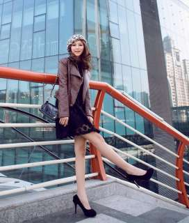 Grey Red Faux Suede Platform Pumps High Heels Women Shoes X342