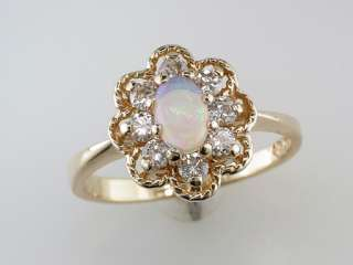 Antique Victorian 3/4ct Opal & Diamond Gold Engagement / Cocktail Ring