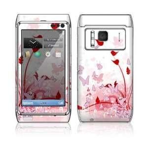 Nokia N8 Skin Decal Sticker  Pink Butterfly Fantasy