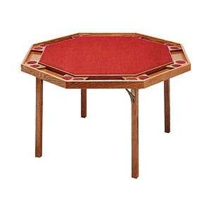 Octagon Poker Table with Ranch Oak Finish & Red Vinyl Top