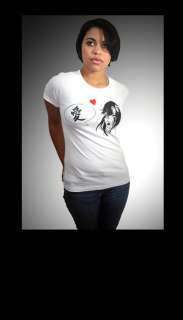 White T Shirt Top Heart Love Japanese Anime by In Control Clothing