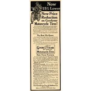 1915 Ad Goodyear Rubber Tires Motorcycles Cyclist Akron