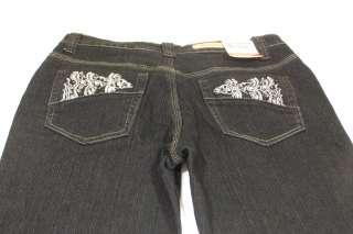 Women Cos Jeans Petite Black Studded Rhinestone Trim 4P