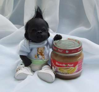 Baby Gorilla Monkey Sculpted Polymer Clay Art Doll Poseable
