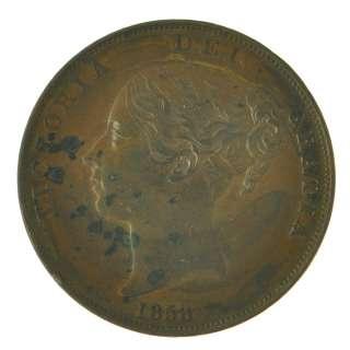 1848/3   Error   Rare   VF+ Great Britain   Victoria   Penny 1d Copper