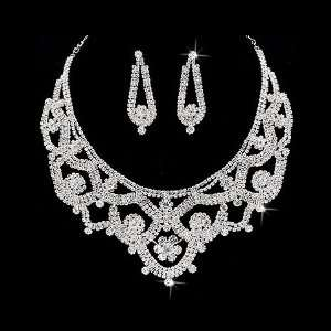Bridal Wedding Jewelry Set Necklace Crystal Rhinestone Classic Bib