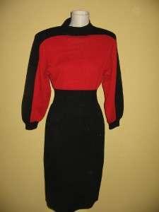 John Collection Santana Knit Mock Turtleneck Color Block Red Dress 10