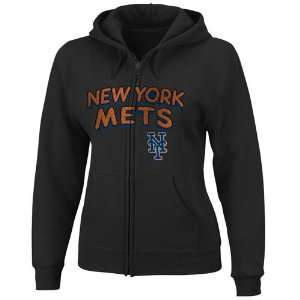 New York Mets Ladies Black Instant Replay Full Zip Hoody Sweatshirt