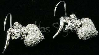 King Queen Baby Studio 3D Crowned Heart Lever Earrings