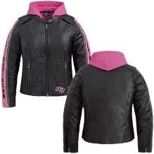 Davidson Womens Black & Pink Comfort Cruiser 3in1 Motorcycle Leather