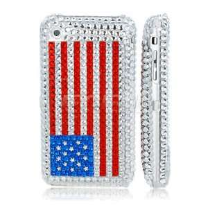 Ecell   USA AMERICAN FLAG CRYSTAL BLING CASE FOR iPHONE 3G
