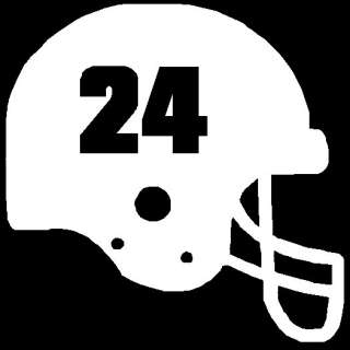 Custom Football Helmet w/ Number   Vinyl Decal Sticker