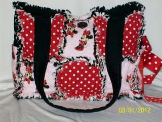 Pink Red Black Bow Rag Quilt Diaper Bag Tote Purse~~ CUTE ~~
