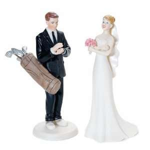 Golf Cake Topper with Exasperated Bride and Golfer Groom