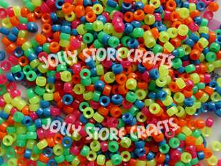 1000 NEON 7mm Mini Pony Beads raver kandy kids crafts
