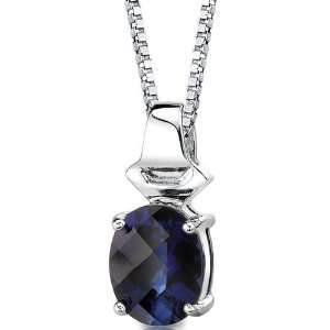 Cut Blue Sapphire Pendant with 18 inch Silver Necklace peora Jewelry