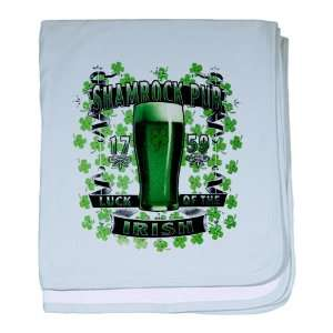Baby Blanket Sky Blue Shamrock Pub Luck of the Irish 1759 St Patricks