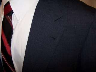 Brooks Brothers Vtg Mens Dark Blue Glen Check Two Button Blazer size