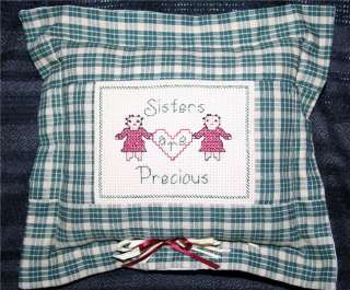 CROSS STITCH PILLOW,SISTERS, DAUGHTER, WELCOME FRIENDS
