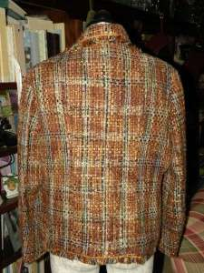 David Brooks 18 Brown Green Gold Plaid Lined Jacket Blazer Fringed
