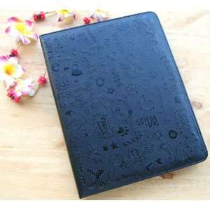 Smart Cute Pretty Lovely black Leather Cover Case for iPad