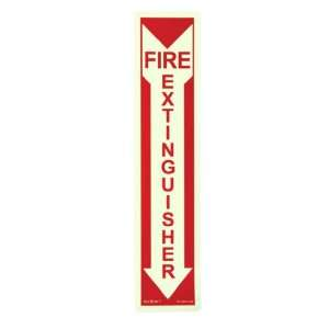 Fire Alarm   Sign, Red Letters on Photoluminescent Background, 4 by 18