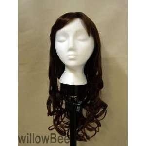 Dark brown tip with Medium Auburn large curls / bangs synthetic wigs