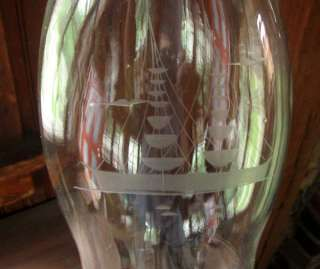 Antique Glass HURRICANE Candle Lamp Shade SAILING SHIP