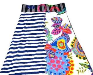 NEW $160 Desigual Patchwork Stripe Floral Printed Skirt Small S 4