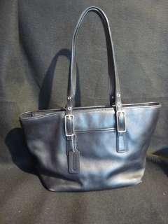 COACH Gallery Legacy Market Rich Black Leather Shopper Tote Purse Bag