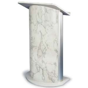 Bianco Marble with Satin Anodized Aluminum Curved Lectern
