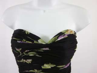 RICKIE FREEMAN TERI JON Black Floral Strapless Dress S