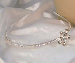 CLEAR RHINESTONE Flower Headband Hair Accessory Bridal