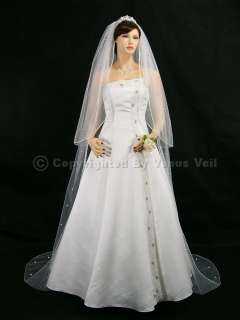 2T White Wedding Bridal Cathedral Rhinestone Veil