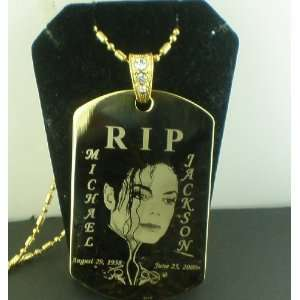 Michael Jackson RIP Large dog tag pendant necklace