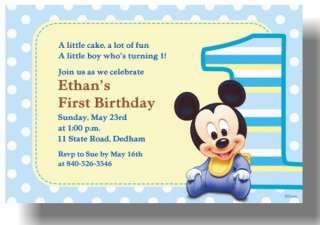 Disney Baby Mickey Mouse First 1st birthday party Invitations