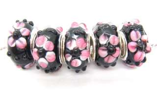 R310 5pcs lovely Murano Glass Bead Fit European Charm Bracelet