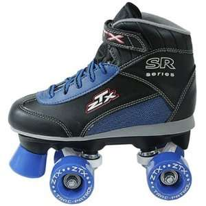 Pacer ZTX Boys Quad Roller Skates   Kids Black Boots with Blue Wheels
