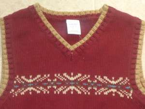 NEW Gymboree ANTIQUE TRUCK Wine Red Fair Isle Print Sweater Vest~ sz