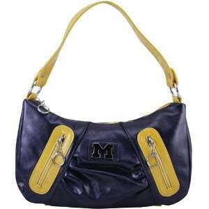 Wolverines Ladies Navy Blue Maize Leather Purse