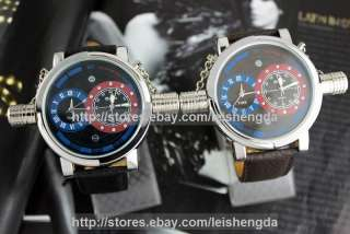Dual Time Zone Date Military Leather Mens Wrist Watch