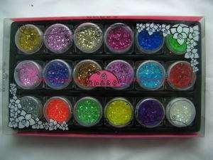 18 Colors Nail Art Rainbow Color Chips and Glitter Powder Mixed Dust